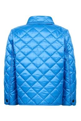 Голубая стеганая куртка Burberry Kids 125379354