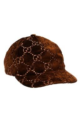 Коричневая кепка с монограммами Gucci 47090778