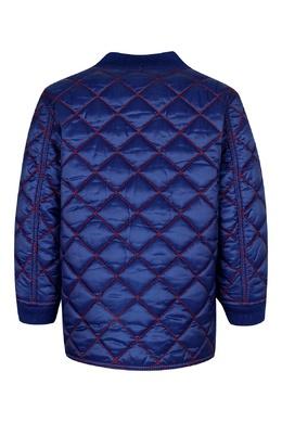 Синяя куртка с цветной отделкой Burberry Kids 125395256
