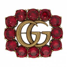 Gucci Gold and Red Marmont Gem Brooch YBF50485700200U