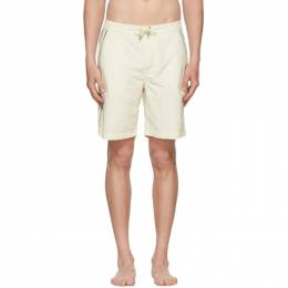 Solid And Striped Off-White Piped Board Shorts MS-1135-1103