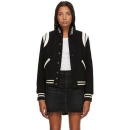Saint Laurent Black Classic Teddy Bomber Jacket 376283 Y180W