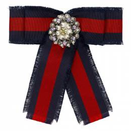 Gucci Red and Blue Striped Ribbon Brooch YBF49275200100U