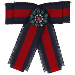 Gucci Navy and Red Striped Ribbon Brooch YBF46082700100U
