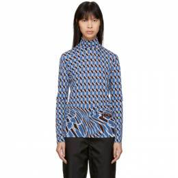 Prada Blue Argyle Turtleneck 39487 1S8R