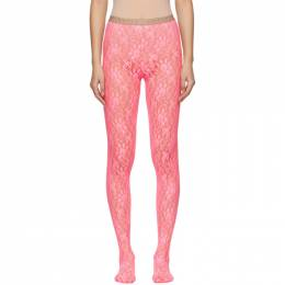 Gucci Pink Lace Tights 554854 3G043