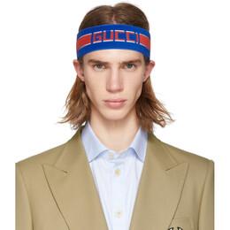 Gucci Blue Headband and Wristband Set 554304 4G153