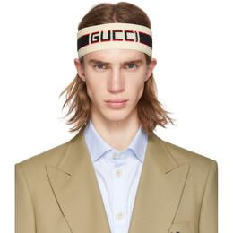Gucci Off-White Headband and Wristband Set 554304 4G153