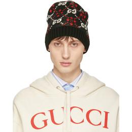 Gucci Black GG Supreme Diamond Beanie 547501 4G250
