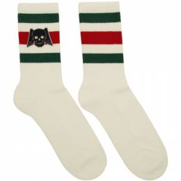 Gucci White Winged Skull Socks 553123 4G490