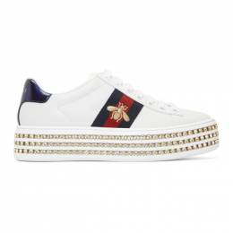 Gucci White Crystal New Ace Sneakers 505995 DOPE0