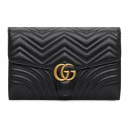 Gucci Black Medium GG Marmont 2.0 Clutch 498079 DTDIT