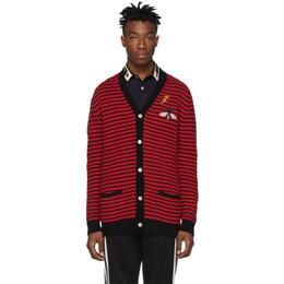 Gucci Red and Black Striped Cardigan 545589 XKAAX