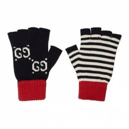 Gucci Navy and Red Striped GG Gloves 547537 4G111