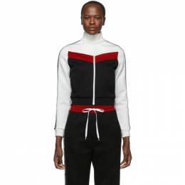 Miu Miu Black Elastic Logo Stripe Zip-Up Sweatshirt MJL638 1TNK