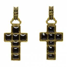Gucci Black and Gold Cross Pendant Earrings 549298 J1631