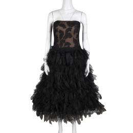 Tadashi Shoji Black Tulle Embroidered Faux Feather Strapless Dress M 354517