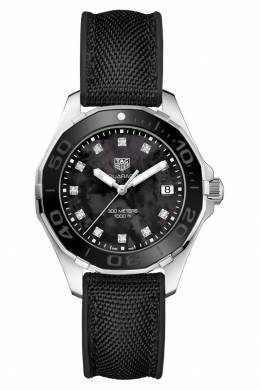 AQUARACER Кварцевые женские часы с черным перламутровым циферблатом Tag Heuer 2849115480