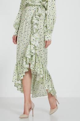 Длинная шелковая юбка с цветочным принтом Attico 1869117470