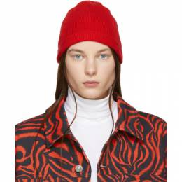 Calvin Klein 205W39nyc Red Ribbed Beanie 92WKAA96 K213