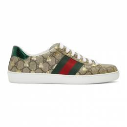 Gucci Beige and Brown GG Supreme Bees Ace Sneakers 548950 9N020