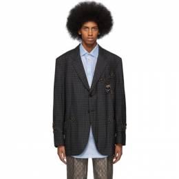 Gucci Grey Mouline Crest Blazer 553735 ZAAAH
