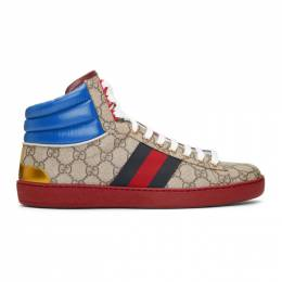Gucci Beige GG Ace High-Top Sneakers 555144 92T20