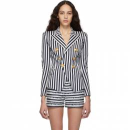 Balmain Blue and White Striped Double-Breasted Blazer RF27132C084