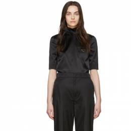 Prada Black Silk Duchess Turtleneck P983F 1UJV