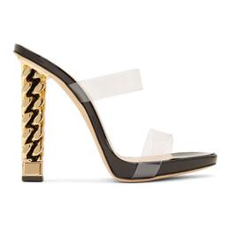 Giuseppe Zanotti Design Black and Gold Rita Ora Edition Eve Sandals ORE9003 81193
