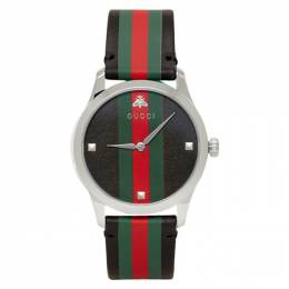 Gucci Black and Silver Striped Leather G-Timeless Watch YA1264079