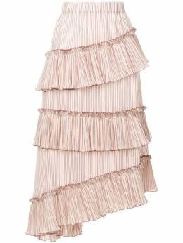 Lorena Antoniazzi юбка миди в полоску с оборками LP3329G052714