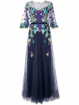 Marchesa Notte платье с цветочной аппликацией N20G0529