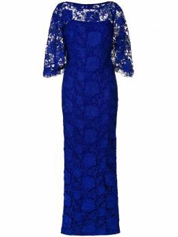 Lauren Ralph Lauren длинное кружевное вечернее платье RAZONASCALLOPLACANNESBLU136774