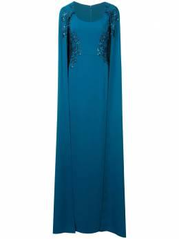 Marchesa Notte платье с вышивкой и отделкой в стиле кейп N25G0659