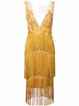 Marchesa Notte платье с бахромой и цветочной вышивкой N28C0770