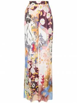 Etro брюки строгого кроя с цветочным принтом 147434643