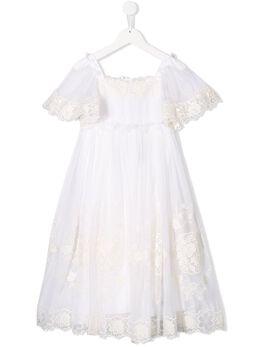 Dolce & Gabbana Kids кружевное платье с расклешенным подолом L51DH2FGMEY