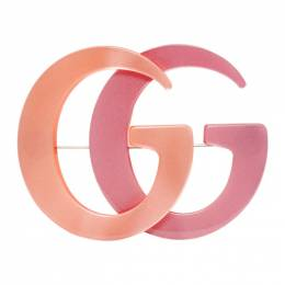 Gucci Orange and Pink Double G Brooch 566608 I12RZ