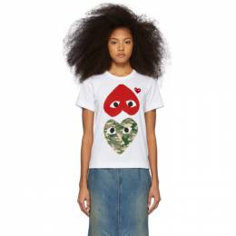 Comme Des Garcons Play White and Red Camo Hearts T-Shirt P1T247