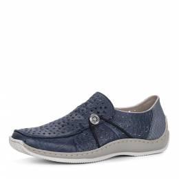 Синие кожаные комфортные туфли Rieker 188349