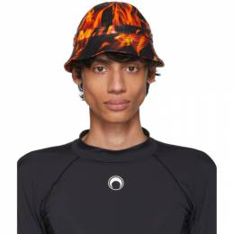 Marine Serre SSENSE Exclusive Black and Orange Leather Flames Bob Hat 191020M14000201GB