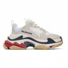 Balenciaga White and Grey Triple S Sneakers 524037-W09E1