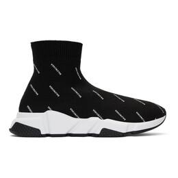 Balenciaga Black All Over Logo Speed Sneakers 530360-W0650