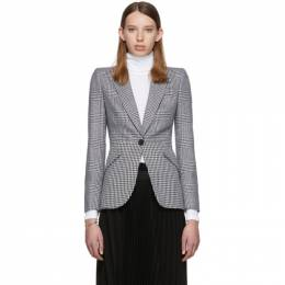 Alexander McQueen Black and White Houndstooth Wool Prince of Wales Blazer 585461QJAAH