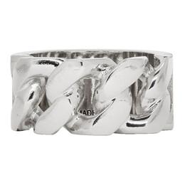 Alexander McQueen Silver Identity Chain Ring 576873J160Y