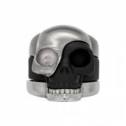 Alexander McQueen Gunmetal Divided Skull Ring Set 554499IAG2Z
