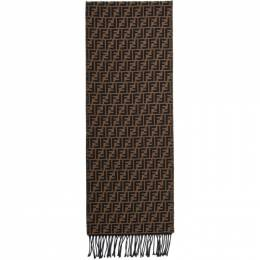 Fendi Brown and Black Forever Fendi Scarf FXS366 A4Z4