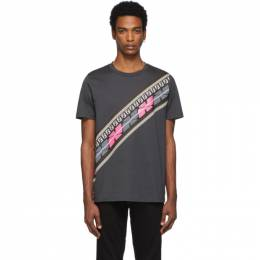 Fendi Grey and Pink Forever Fendi Intarsia Print T-Shirt FY0894 A877