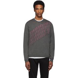 Fendi Grey and Pink Wool Forever Fendi Asymmetric Logo Sweater FZZ470 A8B6
